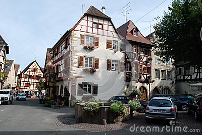 Busy street in Eguisheim , Alsace Province Editorial Photo