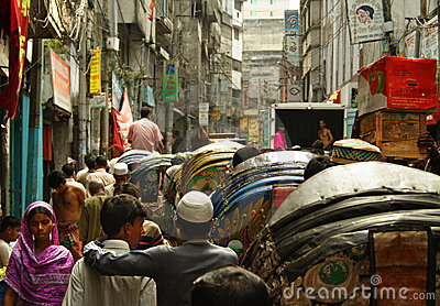 Busy street life in Dhaka Editorial Photo