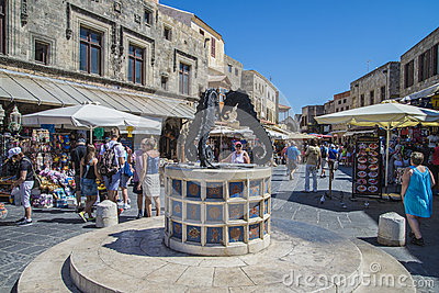 Busy street in the old town of rhodes Editorial Image