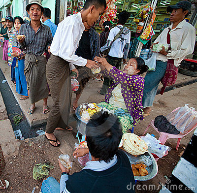 Busy street vendors selling breakfast at Yangon Editorial Image