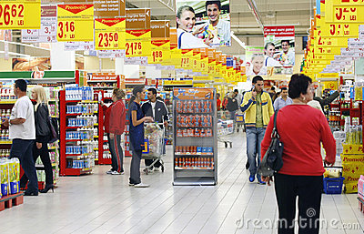 Busy supermarket Editorial Stock Image