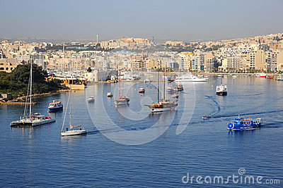Sliema and harbor, Malta. Editorial Stock Photo