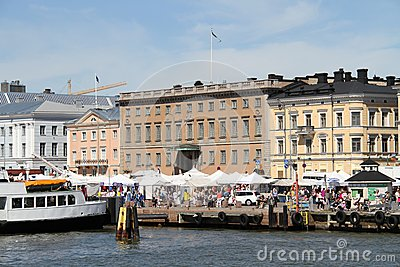 Finland/Helsinki: Tourist Harbor with Market Place Editorial Photography