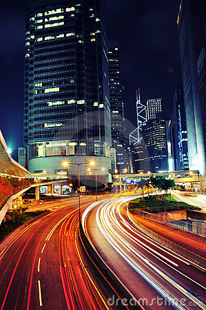 Free Busy Traffic At Night - Hong Kong Stock Photos - 17282003
