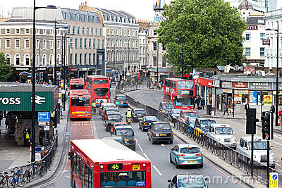 Busy Traffic in Central London near King s Cross Editorial Image