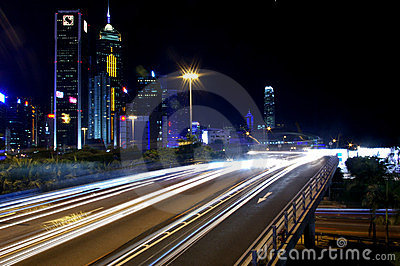 Busy traffic in downtown of Hong Kong Editorial Photo