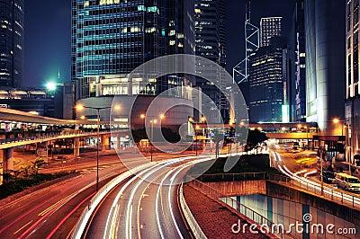 Busy Traffic at night - Hong Kong