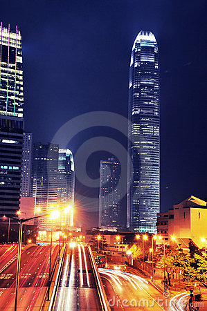 Busy Traffic at night - IFC - Hong Kong