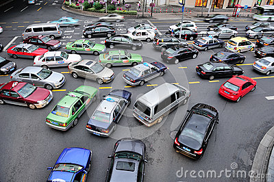 Busy traffic in Shanghai Editorial Image