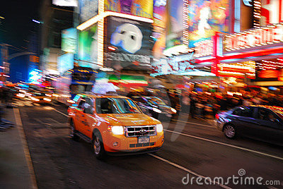 Busy Traffic in Times Square, New York City Editorial Stock Photo