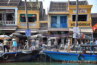 Busy Wharf at Hoi An, Vietnam Editorial Stock Image