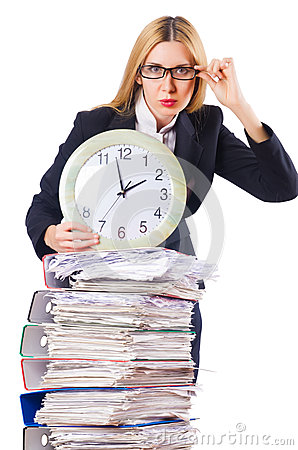 Busy woman with clock