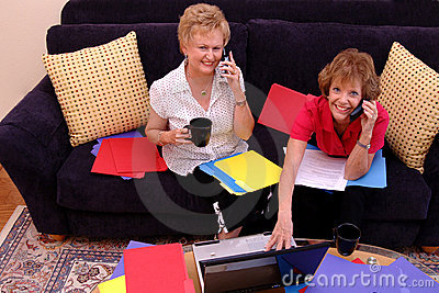 Busy women working from home