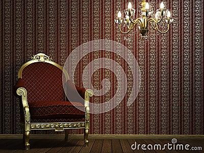 Butaca clásica con la lámpara y los detalles de oro