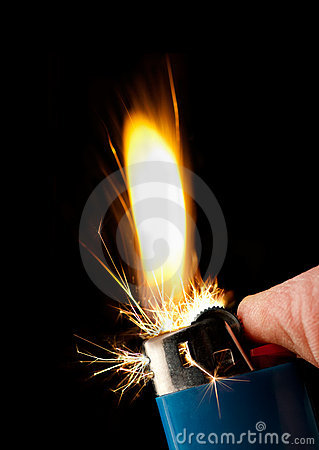 Butane lighter igniting