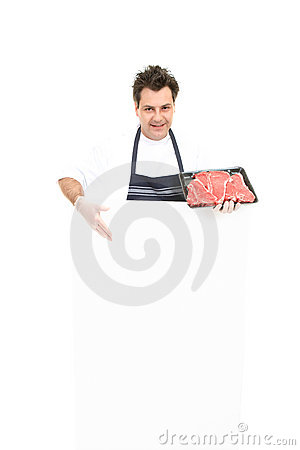 Butcher with advertising sign