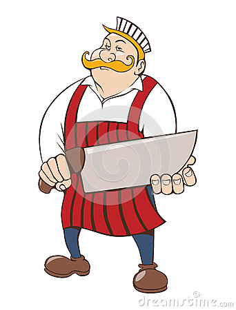 Butcher with big knife