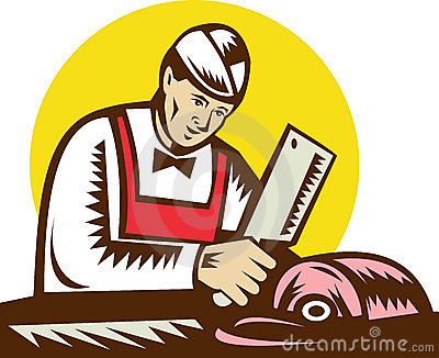 Butcher chopping meat