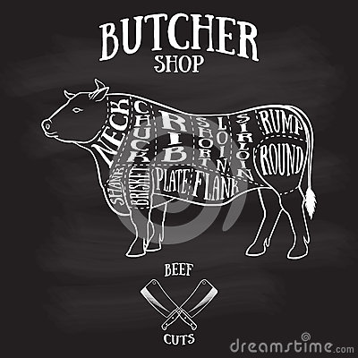 Free Butcher Cuts Scheme Of Beef Royalty Free Stock Photography - 55714357