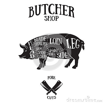 Free Butcher Cuts Scheme Of Pork Royalty Free Stock Photography - 55714397