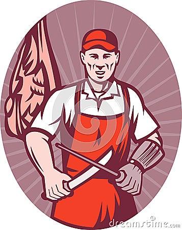 Butcher cutter meat knife