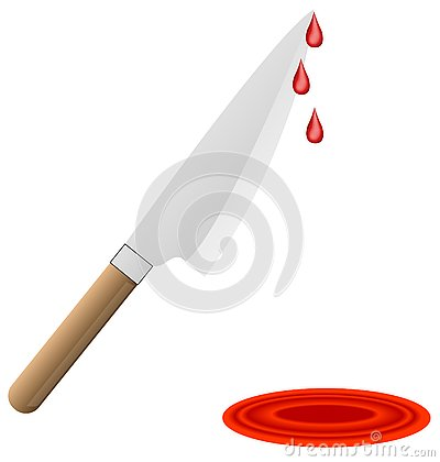 Stock Photography: Butcher knife dripping blood