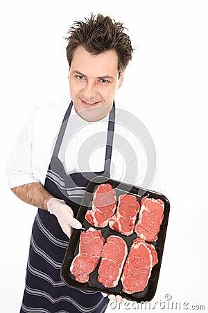 Butcher with tender steak