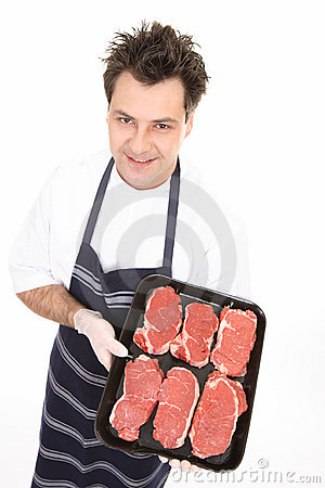 Free Butcher With Tender Steak Royalty Free Stock Photos - 3259168