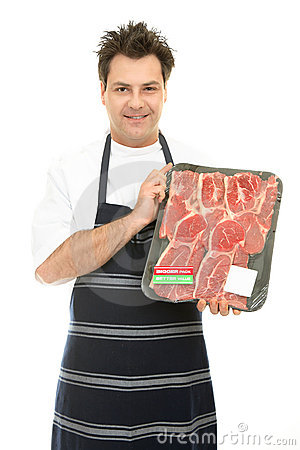 Free Butcher With Tray Of Steak Stock Photo - 3252690