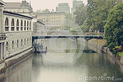 Butchers  Bridge in Ljubljana during heavy rain Editorial Photography