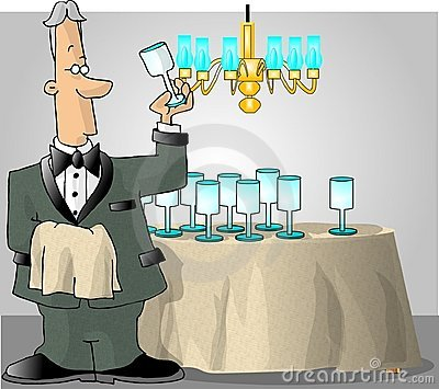 Butler checking the glassware