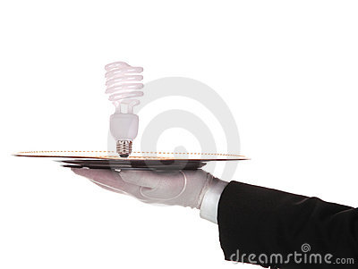 Butler with Compact fluorescent bulb on tray