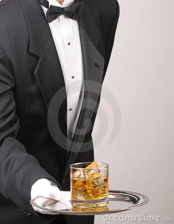 Free Butler Holding Cocktail On Tray Royalty Free Stock Images - 12388969