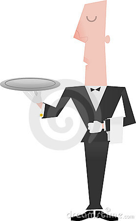 Free Butler Holding Empty Tray Stock Photo - 10242780