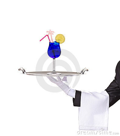 A butler holding a silver tray with cocktail on it