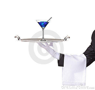 A butler holding a tray with cocktail