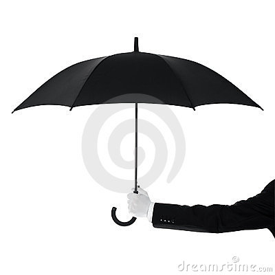 Butler holding an umbrella