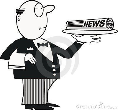 Butler with newspaper cartoon
