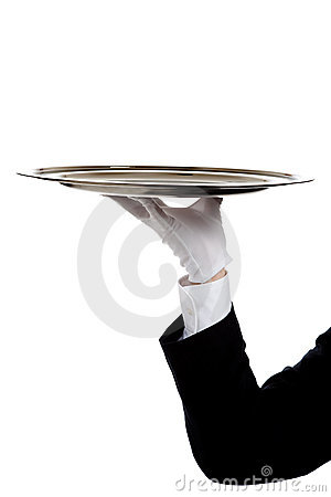 A butler s gloved hand holding a silver tray