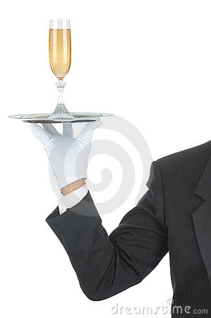 Free Butler With Champagne On Tray Stock Photos - 14452523