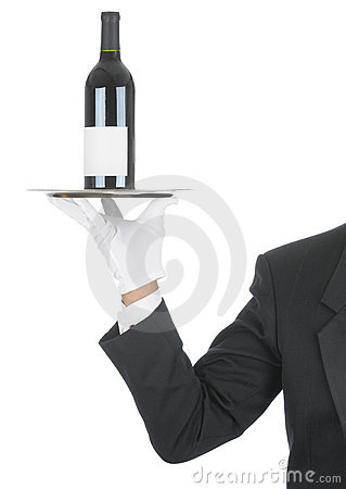 Free Butler With Wine Bottle On Tray Stock Photos - 14452543