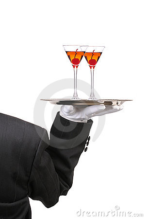 Free Butler With Wine Glasses On Tray Stock Image - 13975071