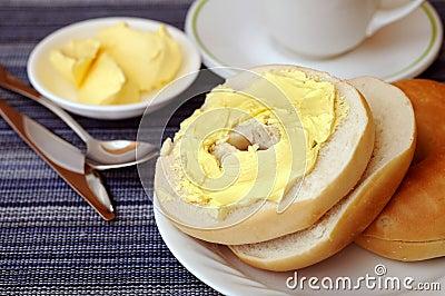 Butter bagel for breakfast