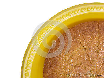 Butter cake on yellow plate