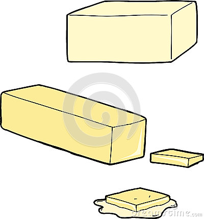 Butter as a stick, cut and melted on white background.