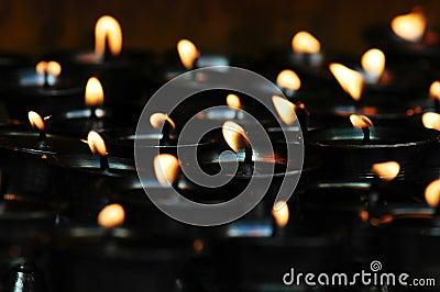 Butter lamps  in Tibet