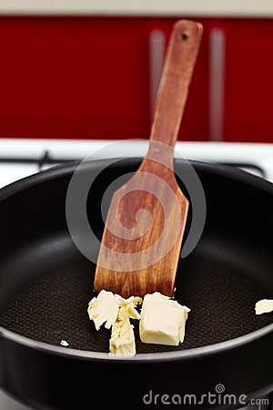 Butter melting in the pan
