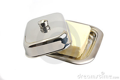 Butter in a metal butter-dish