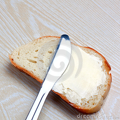 Butter on a slice of bread