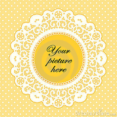 Buttercup Lace Doily Frame, Polka Dot Background